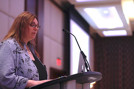 Photo of General Counsel Laura Pettigrew speaking to the Canadian Association for the Practical Study of Law in Education.