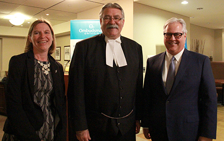 Photo showing from left to right: Deputy Ombudsman Barbara Finlay, Speaker of the House Dave Levac, and Ontario Ombudsman Paul Dubé at an information session with MPPs at Queen's Park.