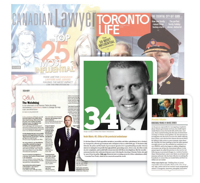 magazine covers and photos of articles about the Ombudsman from Canadian Lawyer and Toronto Life magazines.