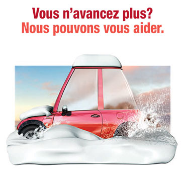 Link to PDF of poster titled Getting nowhere? We can help. Image of car stuck spinning its wheels in snowbank