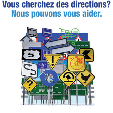 Link to PDF of poster titled need direction? we can help. Image of confusing signs pointing in different directions
