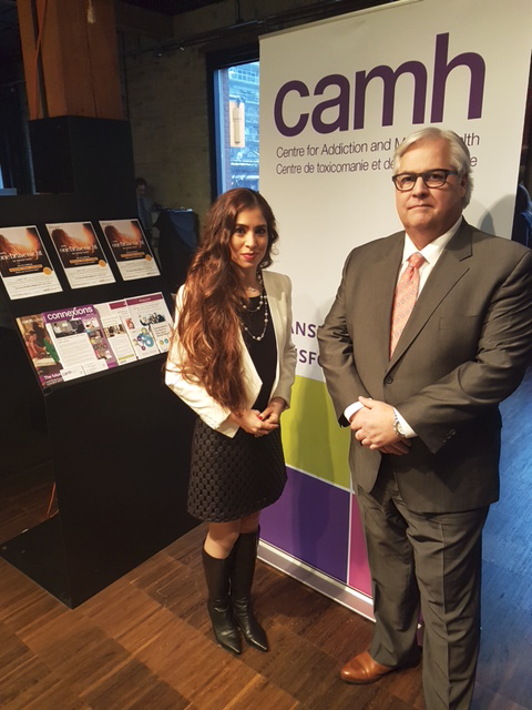 photo of Ombudsman Paul Dubé with Dr. Katy Kamkar, Clinical Psychologist at the Centre for Addiction and Mental Health (CAMH)and Medical Advisor to Board of Directors at Badge of Life Canada (BOLC).