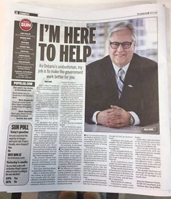 The Ombudsman featured in an article in the Toronto Sun Newspaper