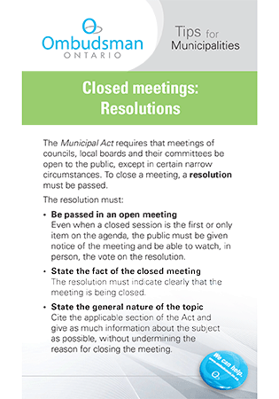 Link to Closed Meetings - Resolutions