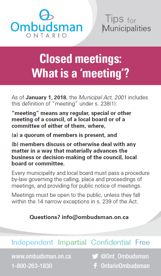 Link to Closed Meetings - What is a 'meeting'?