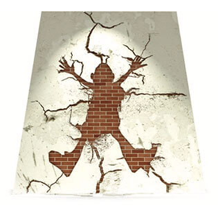 Link to PDF of poster titled Hit a brick wall? We can help. Image of a person hitting a brick wall