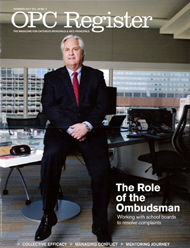 OPC Register magazine cover with Ombudsman Paul Dubé