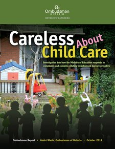 Cover of Ombudsman report, Careless About Child Care