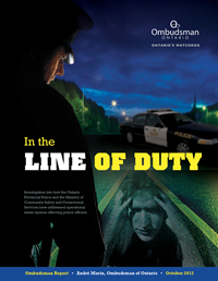 Cover of Ontario Ombudsman report about operational stress injuries with the provincial police