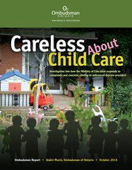 Cover of Ontario Ombudsman report, Careless About Child Care