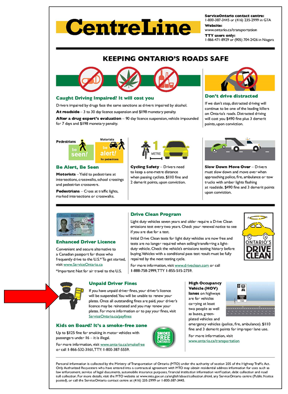 Figure 1: CentreLine insert - arrow denotes warning about unpaid fines.