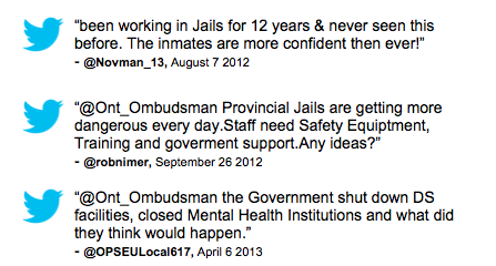 """been working in Jails for 12 years & never seen this before. The inmates are more confident then ever!""         - @Novman_13, August 7 2012  ""@Ont_Ombudsman Provincial Jails are getting more dangerous every day.Staff need Safety Equiptment, Training and goverment support.Any ideas?""                   - @robnimer, September 26 2012  ""@Ont_Ombudsman the Government shut down DS facilities, closed Mental Health Institutions and what did they think would happen.""                                                 - @OPSEULocal617, April 6 2013"
