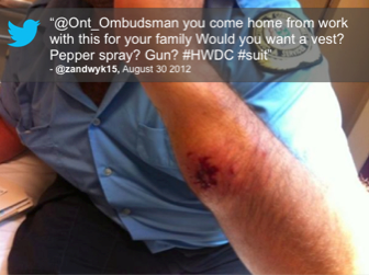 S@ont_ombudsman you come home from work with this for your family Would you want a vest? Pepper spray? Gun? #HWDC #suit