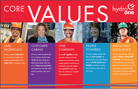 "Hydro One's ""Core Values"" card."