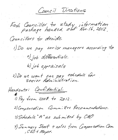 Image of the note distributed by the Mayor regarding Council Directions.