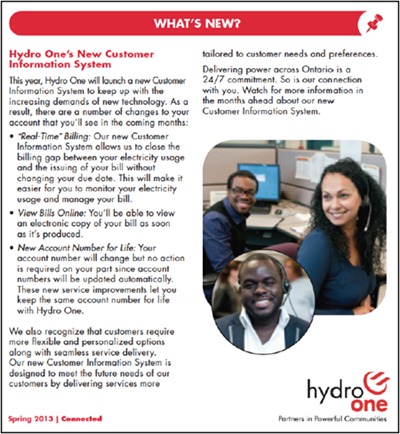 Figure 6: Hydro One newsletter, Spring 2013