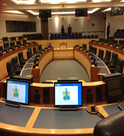 Second of two views of Niagara regional council chambers, facing and from the chair