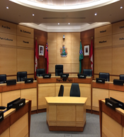 First of two views of Niagara regional council chambers, facing and from the chair