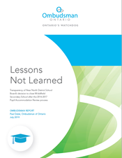"Cover of report ""Lessons Not Learned"""