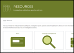 screen shot of website's Resources page