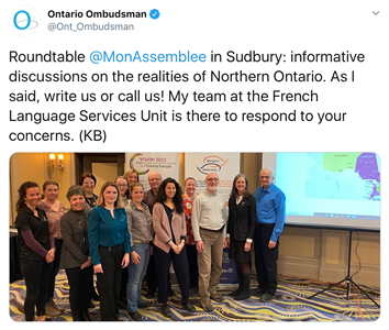 March 12, 2020: Tweet from Commissioner Kelly Burke at the Assemblée de la francophonie de l'Ontario's roundtable discussion about French language services in Northern Ontario, Sudbury.