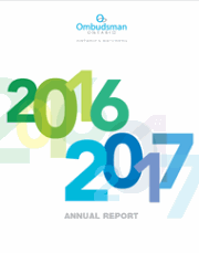 The Ombudsman's 2016-2017 Annual report - photo of the cover