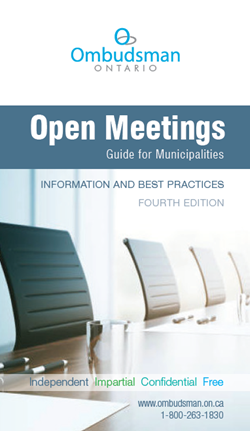 "cover of ""Open Meetings - Guide for Municipalities"""